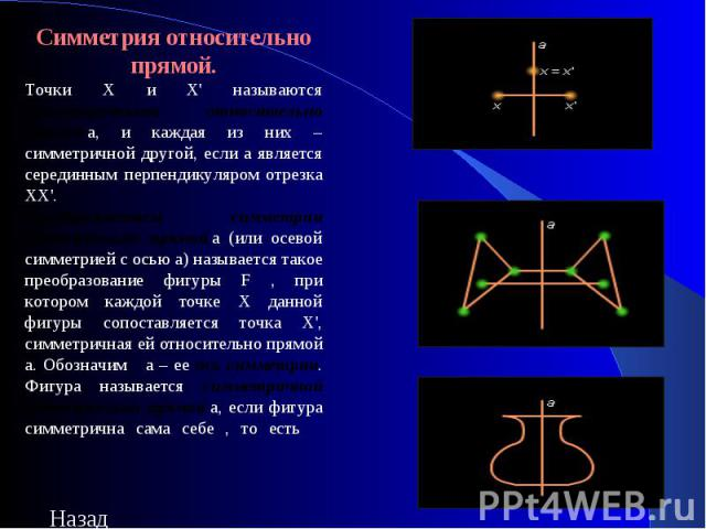 Симметрия относительно прямой.Точки Х и Х' называются симметричными относительно прямойa, и каждая из них – симметричной другой, если a является серединным перпендикуляром отрезка ХХ'.Преобразованием симметрии относительно прямойa (или осевой симм…