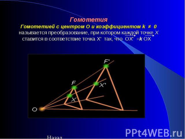 ГомотетияГомотетией с центром O и коэффициентом k≠0 называется преобразование, при котором каждой точке X ставится в соответствие точка Х' так, что ОХ' =kОХ
