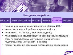 Методическая работаплан по инновационной деятельности в области ИКТ;анализ метод