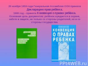 20 ноября 1959 года Генеральная Ассамблея ООН принялаДекларацию прав ребёнка.198
