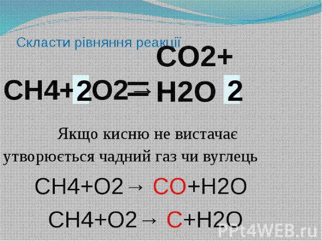 Скласти рівняння реакціїСН4+ O2→ Якщо кисню не вистачає утворюється чадний газ чи вуглець СН4+O2→ СO+Н2O СН4+O2→ С+Н2O