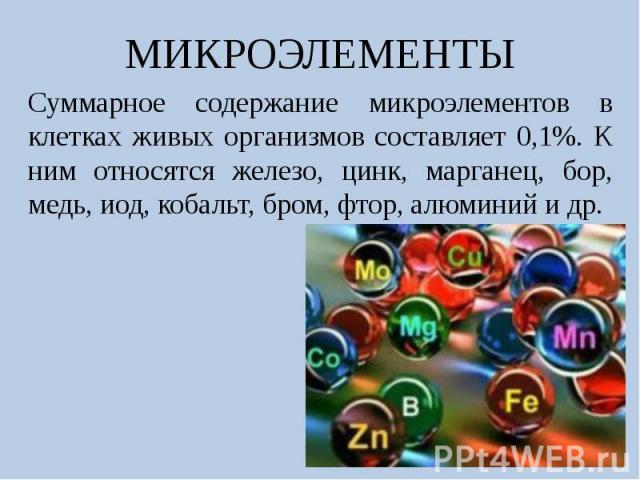 МИКРОЭЛЕМЕНТЫСуммарное содержание микроэлементов в клетках живых организмов составляет 0,1%. К ним относятся железо, цинк, марганец, бор, медь, иод, кобальт, бром, фтор, алюминий и др.