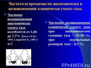 Частота возникновения анатомически узкого таза колеблется от 1,04 до 7,7% (Steer