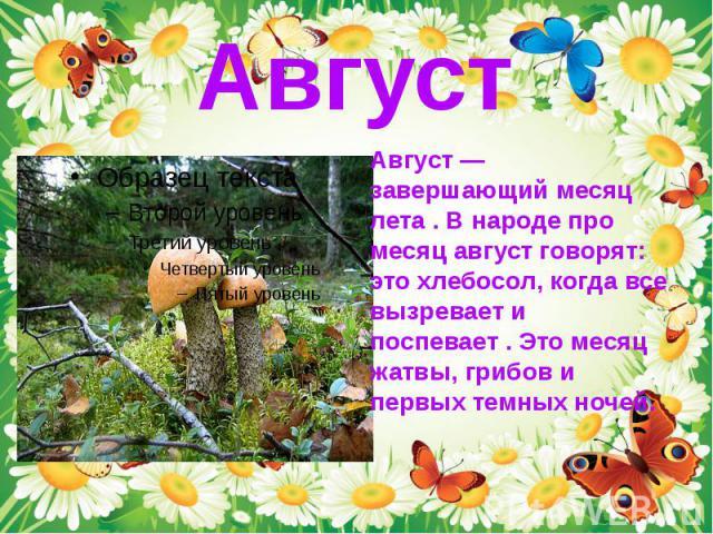 Август — завершающий месяц лета . В народе про месяц август говорят: это хлебосол, когда все вызревает и поспевает . Это месяц жатвы, грибов и первых темных ночей. Август — завершающий месяц лета . В народе про месяц август говорят: это хлебосол, ко…