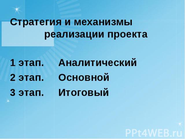 Стратегия и механизмы реализации проекта Стратегия и механизмы реализации проекта 1 этап. Аналитический 2 этап. Основной 3 этап. Итоговый