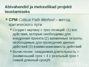 CPM Critical Path Method – метод критического пути CPM Critical Path Method – ме