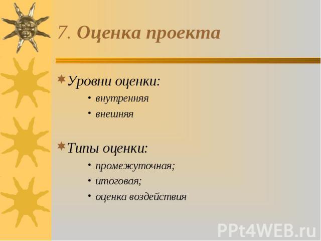 Уровни оценки: Уровни оценки: внутренняя внешняя Типы оценки: промежуточная; итоговая; оценка воздействия