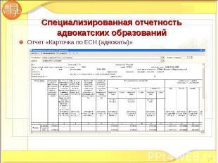 Отчет «Карточка по ЕСН (адвокаты)» Отчет «Карточка по ЕСН (адвокаты)»