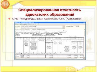 Отчет «Индивидуальная карточка по ОПС (Адвокаты)» Отчет «Индивидуальная карточка