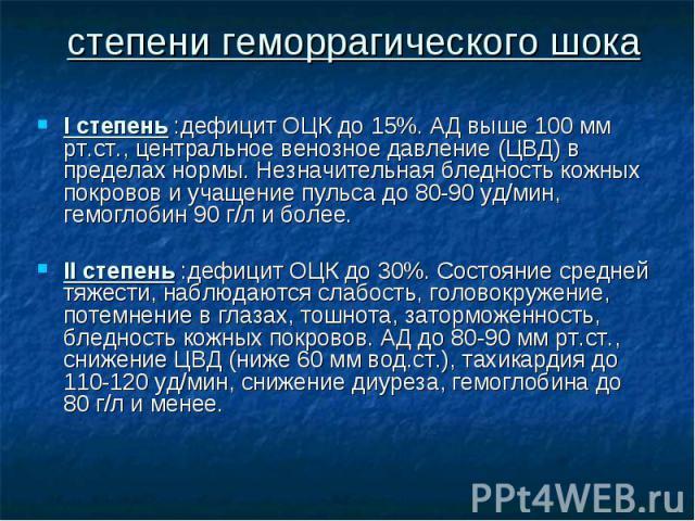 I степень :дефицит ОЦК до 15%. АД выше 100 мм рт.ст., центральное венозное давление (ЦВД) в пределах нормы. Незначительная бледность кожных покровов и учащение пульса до 80-90 уд/мин, гемоглобин 90 г/л и более. I степень :дефицит ОЦК до 15%. АД выше…
