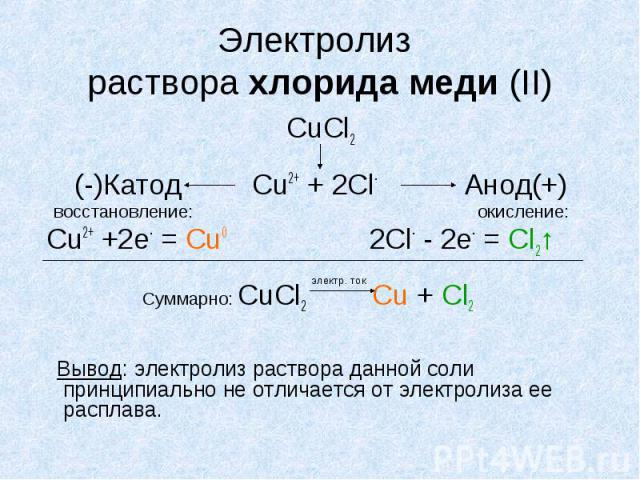 Электролиз раствора хлорида