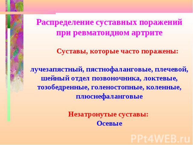 Презентация На Тему Ревматоидный Артрит