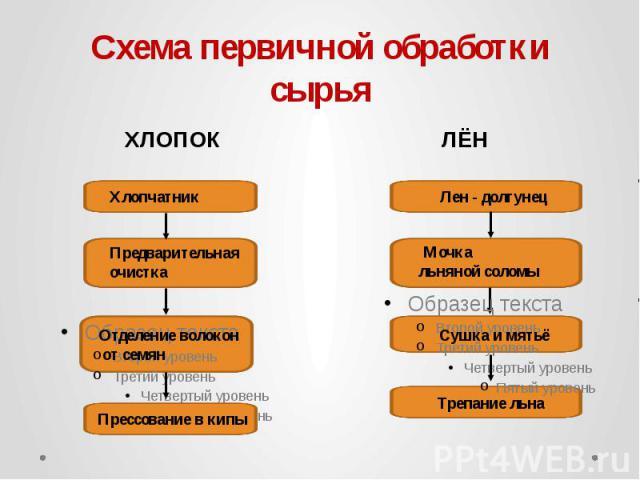 Схема первичной обработки