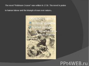 """The novel """"Robinson Crusoe"""" was written in 1719. The novel is praise t"""