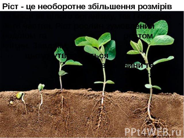 Ріст - це необоротне збільшення розмірів та маси як цілого організму, так і окремих його частин. Ріст рослин зумовлений поділом та ростом клітин. Завдяки цьому утворюються нові тканини та органи. Ріст - це необоротне збільшення розмірів та маси як ц…