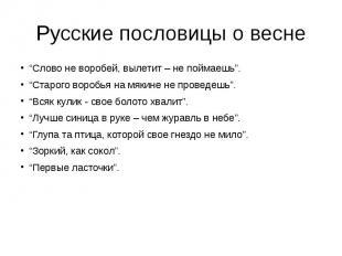 """Русские пословицы о весне """"Слово не воробей, вылетит – не поймаешь"""". """"Старого во"""