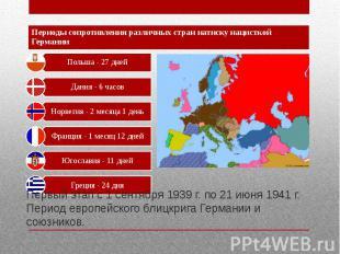 Первый этап с 1 сентября 1939 г. по 21 июня 1941 г. Период европейского блицкриг