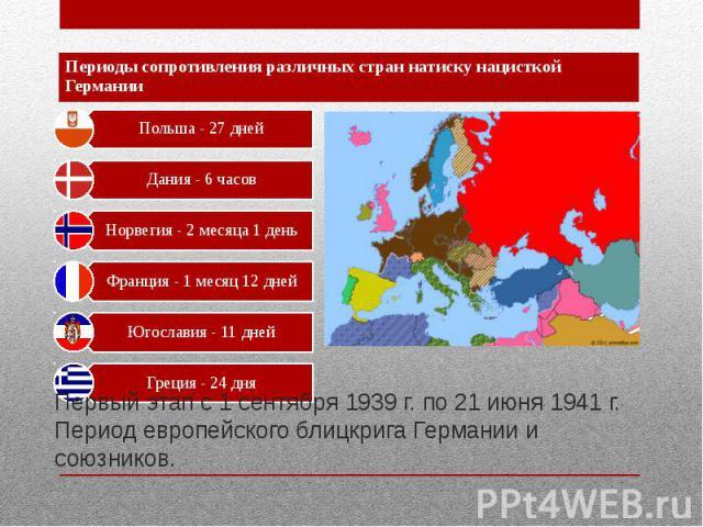 Первый этап с 1 сентября 1939 г. по 21 июня 1941 г. Период европейского блицкрига Германии и союзников.