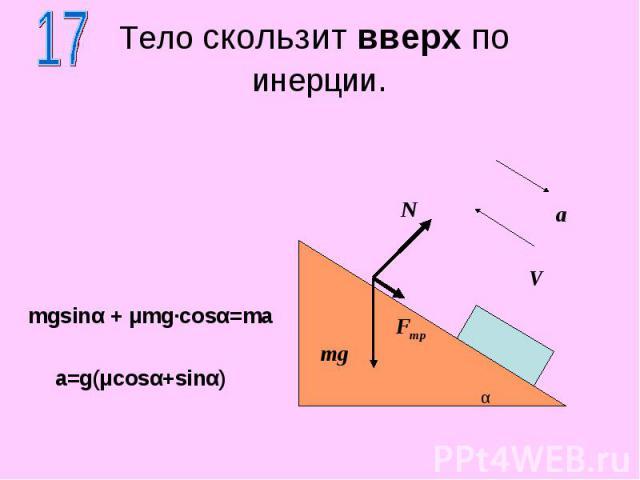 По наклонной плоскости скользят два тела связанные нитью