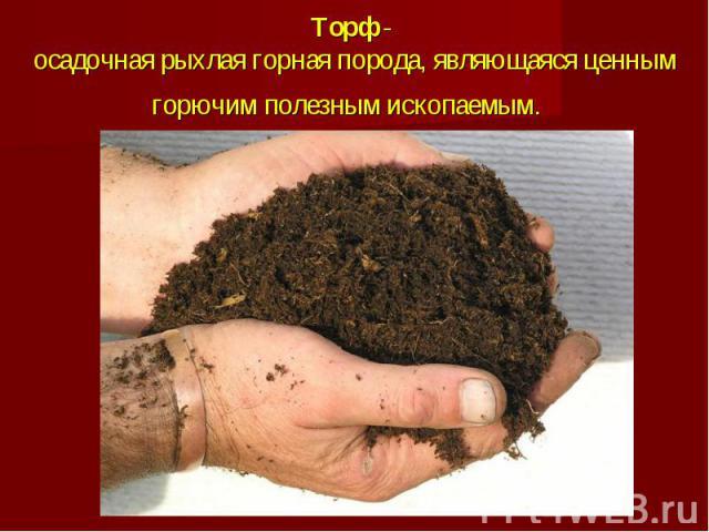 Торф- осадочная рыхлая горная порода, являющаяся ценным горючим полезным ископаемым.