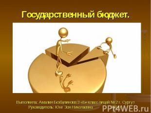 Государственный бюджет.Выполнила: Амалия Безбалинова 3 «Б» класс лицей № 2 г. Су