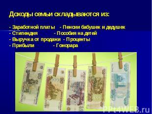 Доходы семьи складываются из:- Заработной платы - Пенсии бабушек и дедушек- Стип