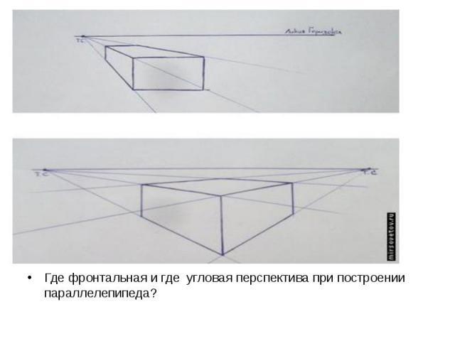 Где фронтальная и где угловая перспектива при построении параллелепипеда? Где фронтальная и где угловая перспектива при построении параллелепипеда?