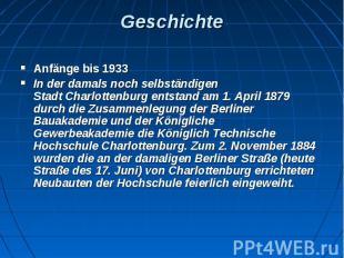 Geschichte Anfänge bis 1933 In der damals noch selbständigen StadtCharlott