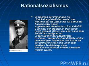 """Nationalsozialismus Im Rahmen der Planungen zur """"Reichshauptstadt Germania"""" war"""