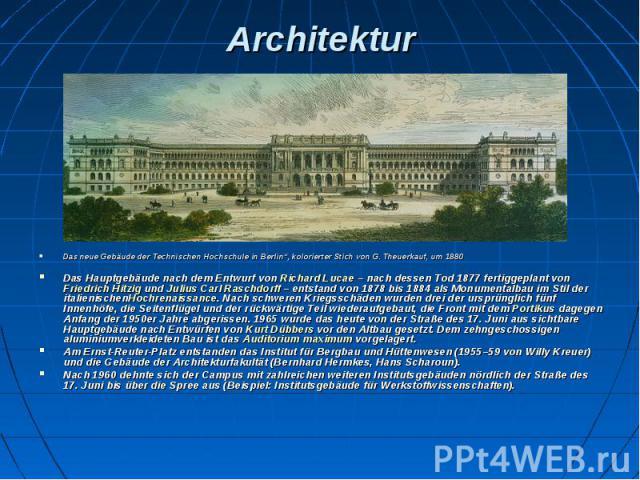 """Architektur Das neue Gebäude der Technischen Hochschule in Berlin"""", kolorierter Stich von G. Theuerkauf, um 1880 Das Hauptgebäude nach dem Entwurf vonRichard Lucae– nach dessen Tod 1877 fertiggeplant vonFriedrich Hitzigund&nb…"""