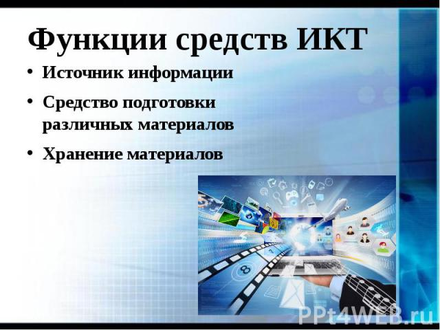 Функции средств ИКТ Источник информации Средство подготовки различных материалов Хранение материалов