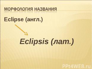 Морфология названия