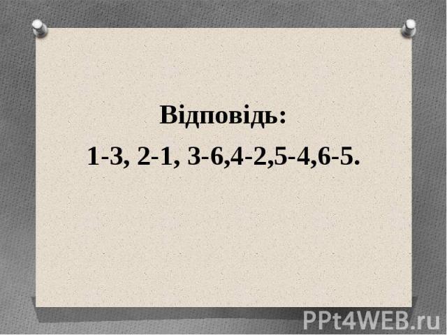 Відповідь: Відповідь: 1-3, 2-1, 3-6,4-2,5-4,6-5.