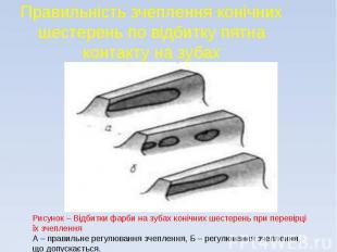 Правильність зчеплення конічних шестерень по відбитку пятна контакту на зубах