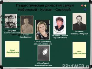 Педагогическая династия семьиНеборской - Ковган –Соловей Неборская Надежда Серге