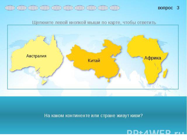 На каком континенте или стране живут киви?