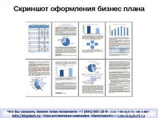 Скриншот оформления бизнес плана