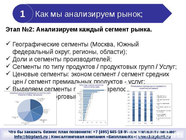 Этап №2: Анализируем каждый сегмент рынка.Географические сегменты (Москва, Южный федеральный округ, регионы, области); Доли и сегменты производителей;Сегменты по типу продуктов / продуктовых групп / Услуг;Ценовые сегменты: эконом сегмент / сегмент с…