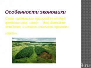Особенности экономики Слово «экономика» происходит от двух греческих слов: «экос