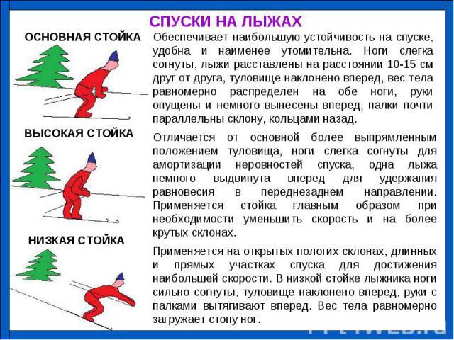 СПУСКИ НА ЛЫЖАХ Обеспечивает наибольшую устойчивость на спуске, удобна и наименее утомительна. Ноги слегка согнуты, лыжи расставлены на расстоянии 10-15 см друг от друга, туловище наклонено вперед, вес тела равномерно распределен на обе ноги, руки о…