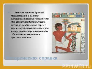 Историческая справка Вначале жители древней Месопотамии и Египта выращивали пшен