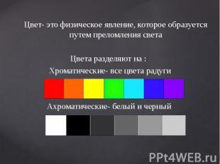 Цвет- это физическое явление, которое образуется путем преломления света Цвет- э