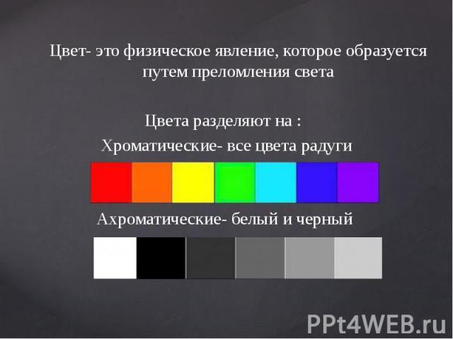Цвет- это физическое явление, которое образуется путем преломления света Цвет- это физическое явление, которое образуется путем преломления света Цвета разделяют на : Хроматические- все цвета радуги Ахроматические- белый и черный