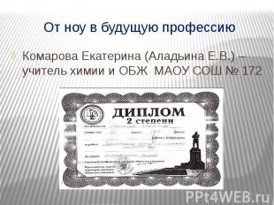 От ноу в будущую профессию Комарова Екатерина (Аладьина Е.В.) – учитель химии и
