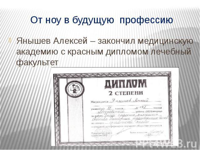 От ноу в будущую профессию Янышев Алексей – закончил медицинскую академию с красным дипломом лечебный факультет