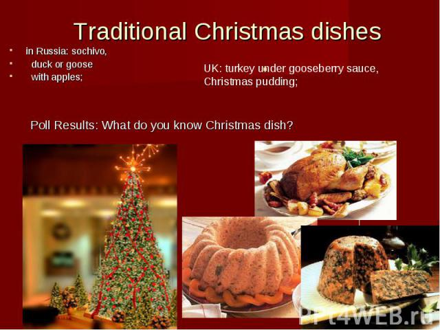 Traditional Christmas dishes in Russia: sochivo,  duck or goose  with apples; UK: turkey under gooseberry sauce, Christmas pudding; Poll Results: What do you know Christmas dish?