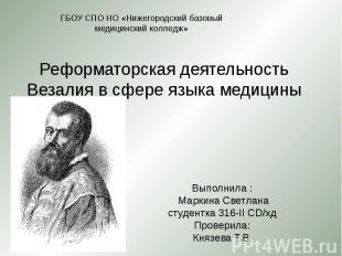 Реформаторская деятельность Везалия в сфере языка медицины Выполнила : Маркина С