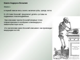 Книги Андерса Везалия Книги Андерса Везалия Книга 1. в первой описан весь скелет