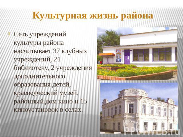 Культурная жизнь районаСеть учреждений культуры района насчитывает 37 клубных учреждений, 21 библиотеку, 2 учреждения дополнительного образования детей, краеведческий музей, районный дом кино и 15 киноустановок в селах.