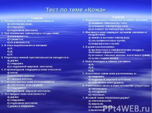 Тест по теме «Кожа» I вариант 1. Потовые железы кожи расположены в: а) собственн